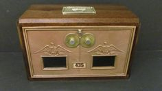 Walnut Antique US Post Office Postal Box Door Bank #3 Dual Dial Eagle Circa 1920