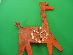 New to PondScumCeramics on Etsy: Kids Clock Happy Giraffe ClockBaby Nursery ClockAnimal Clock Modern Clock for Kids (55.00 USD)