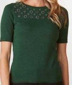 Green Jeweled Sweater