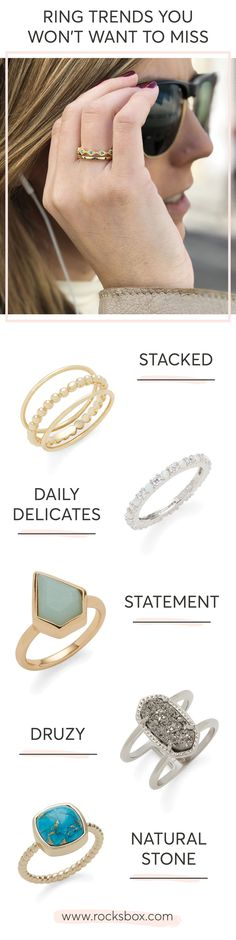 Which ring trend is your favorite? With Rocksbox you can try the latest trends in jewelry without the commitment of buying. For just $21 a month, try 3 pieces of jewelry at a time. Buy the ones you love with your $21 Monthly Credit, then send the rest back when you're ready for more.