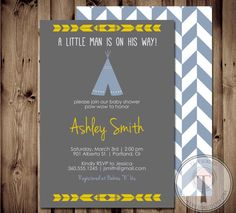 TEEPEE Baby Shower Invitation Indian Baby shower by T3DesignsCo, $12.99