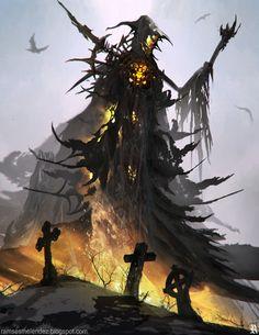 Hell spell by Ramses Melendez on ArtStation. Fantasy Dragon, Fantasy Warrior, Fantasy Rpg, Dark Fantasy Art, Fantasy Artwork, All Mythical Creatures, Fantasy Creatures, Vampires, Zombies