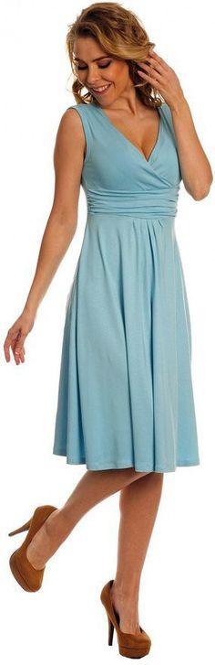 Fashion Candy Color Empire V-neck Knee-length Dress