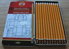 Koh-I-Noor tins of 1500 HARDTMUTH HB to 10H graphite pencils