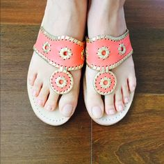 Jack Rogers Sandals Beautiful and only worn a handful of times. Coral color with gold trim. Jack Rogers Shoes Sandals