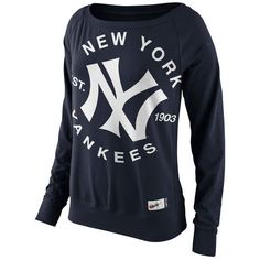 Women's New York Yankees Nike Navy Cooperstown Collection Washed Epic... ($70) ❤ liked on Polyvore featuring tops, hoodies, sweatshirts, crewneck sweatshirt, navy blue sweatshirt, fleece tops, navy blue top and nike top