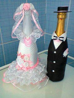 Bottle decoration in pink