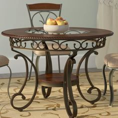 Carrick Dining Table by Winston Porter Counter Height Dining Table, Solid Wood Dining Table, Extendable Dining Table, Dining Table In Kitchen, Round Dining Table, Dining Area, 5 Piece Dining Set, Dining Sets, Dining Room Furniture