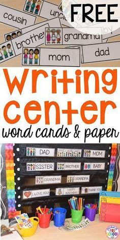 Writing center freebies perfect for preschool, pre-k, and kindergarten (family word cards, event word cards, and fancy writing paper). Add these to the word wall next to writing center! Writing Center Preschool, Kindergarten Centers, Preschool Literacy, Kindergarten Writing, Teaching Writing, Writing Activities, Writing Skills, Preschool Family Theme, Kindergarten Word Walls