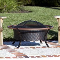 Fire Sense 37-Inch Copper Rail Outdoor Fire Pit - Antique Bronze (€145) ❤ liked on Polyvore featuring home, outdoors, outdoor decor, copper fire pit, patio fire pits, outdoor garden decor, fire sense and copper garden decor