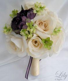 17pc Wedding Bridal Bouquet Decoration Package Flower PLUM EGGPLANT PURPLE GREEN #weddingflowers