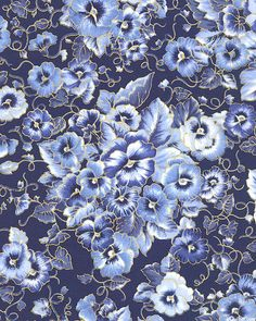 E-QUILTER USA $10.75 YARD Fancy Pansy - Smiling Blossom Delight - Navy Blue/Gold