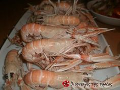 Γαρίδες βραστές #sintagespareas Fish And Seafood, Shrimp, Menu, Menu Board Design, Menu Cards