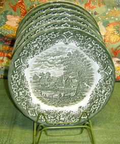 WH Grindley Green Homeland Dinner Plates Green Transferware Made in England | eBay