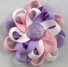 $6.00 Fun Spring flower loop hair bow for your little girl. Purple,Pink & White @shimmyshimmybowtique.com