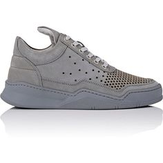 Filling Pieces Perforated Low Top Sneakers (2 030 SEK) ❤ liked on Polyvore featuring shoes, sneakers, grey, low profile sneakers, perforated sneakers, round toe sneakers, flat shoes and grey flat shoes