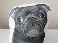 black pug plush dog pillow hand painted realistic soft sculpture gift idea for pugs lover