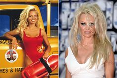 Pamela Anderson  It's hard to believe this woman was once a model, and was considered one of the sexiest actresses on earth while she starred in Baywatch. Pam has had an affection for bad boys and wild lifestyle, and the price she's paying is as heavy as her makeup nowadays. Scary.