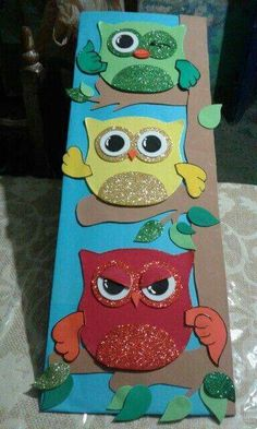 Owl craft project for kids Owl Craft Projects, Owl Crafts, Craft Ideas, Owl Theme Classroom, Preschool Classroom, Class Decoration, School Decorations, Preschool First Day, Activities For Kids