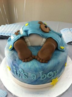 Baby Butt Baby shower - Baby butt cake. All fondant. thanks for looking !
