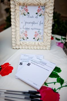 Awesome idea for doctor brides and grooms! Or nurses/pharmacists. A custom  50 sheet prescription pad so your guests can sign a unique guestbook. I used this idea at my wedding, huge hit! Prescription for a happy marriage pad.