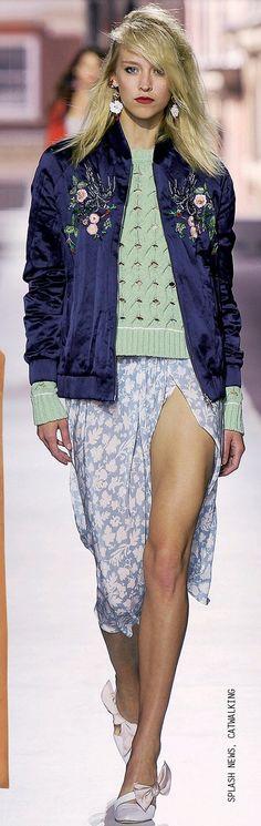 Topshop Unique 16_embroidered silk bomber jacket, mint green jumper, baby-blue floral split dress