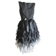 1stdibs | Oscar de la Renta ombre dress with feathered silk skirt   New