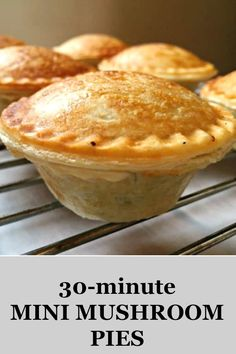 Mini Mushroom Pies, an excellent meat-free appetizer for parties and gatherings. Easy to put together, full of flavour and delicious. Ready in just 30 minutes. #vegetarianrecipes , #partyfood , #mushrooms, #pies , #vegetarianpies, #healthyrecipes