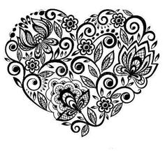 tatuaggio cuore: beautiful silhouette of the heart of lace flowers, leaves. Isolated on white. tattoo design or greeting card and invitation of wedding, birthday, Valentines Day, mothers day and seasonal holiday Diy Tattoo, Lace Tattoo, New Tattoos, Cool Tattoos, Tatoos, Maori Tattoos, Tattoo Mexicana, Pattern Wall, Tattoo Painting