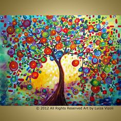 Original Modern Fantasy Colorful Whimsical Landscape Abstract HUGE Painting on Very LARGE Gallery canvas- LEMON TREE-happy, colorful large wall decor with warm ,bright colors *Extra Large Genie Collapsible Canvases , ready to reassembled and READY TO HANG- The last photos are of the back