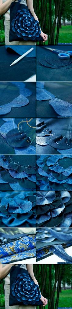 DIY Denim Flower Bag fashion flower denim. Great photo tutorial for upcycling denim.