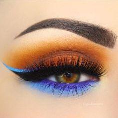 #kingsday #orange #make-up #eyelashes #eyes #eyebrows #mascara #blue #girlythings #eyeliner