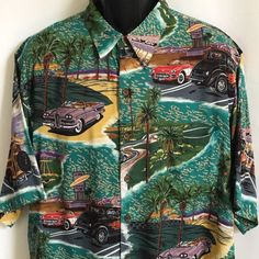 5ca4a867 Reyn Spooner So Cal Shirt XL Vintage Cars Drive In Orange Groves Ocean  Hollywood | eBay