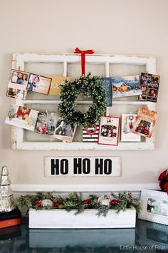 Old windows make for the perfect backdrop for displaying holiday cards. www.littlehouseoffour.com