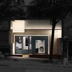 미용실 인테리어 스투디오올라 Retail Facade, Shop Facade, Entrance Lighting, Facade Lighting, Shop Front Design, Store Design, Facade Design, Exterior Design, Fashion Retail Interior