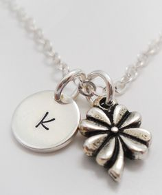 Sterling Silver Clover Initial Pendant Necklace