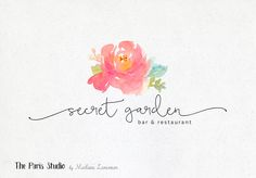 Watercolor Floral Resaurant Bar Branding Logo Design - restaurant branding, photography logo, website logo, boutique logo, creative business branding or small business logo.