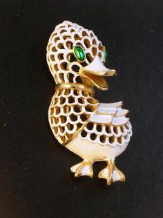 Crown Trifari Enameled Duck Brooch