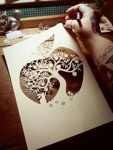 The 9 best paper panda images on pinterest papercutting cut outs buy at paper panda image of papercut diy design template apple tree maxwellsz