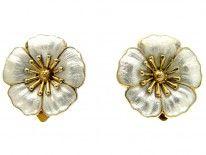 Silver Gilt Flower Earrings