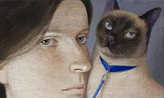 Nine cat's lives Nine Cat, Catwoman, Cat Life, Female Art, Portraits, Paintings, Artists, Canvas, Blue