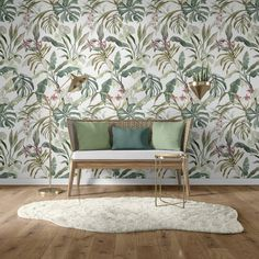 Our jungle plants pattern creates a special atmoshpere. These beautiful leaves and flowers fit well in your living room, study or bedroom. Repetition of patterns: 60 x 100 cm. This unique plant pattern is available in three different colors. Plant Wallpaper, Unique Plants, Patterns In Nature, Pattern Wallpaper, Wall Murals, Different Colors, Accent Chairs, Dining Chairs, Living Room