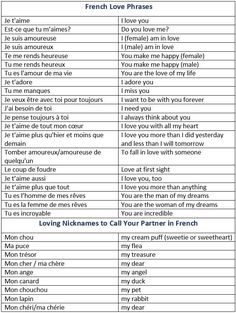 How to Say I Love You in French. French Love Phrases. Loving Nicknames to Call Your Partner in French. - learn French,vocabulary,communication,french #learnfrench
