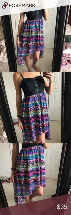 High Low Dress ✨ Really pretty. Front zipper. Material Girl Dresses High Low