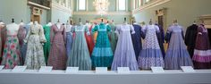 """Laura Ashley dresses from the 70's """"Laura Ashley the Romantic Heroine"""", exhibition at the Fashion Museum, Bath, England"""