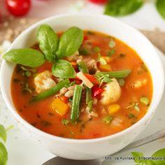 Zupa jarzynowa z pomidorami i pęczakiem Thai Red Curry, Ethnic Recipes, Food, Diet, Essen, Meals, Yemek, Eten