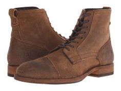 Frye Everett Lace Up (Tan Waxed Suede) Men's Lace-up Boots