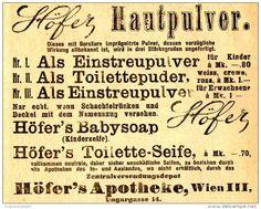 Original-Werbung/ Anzeige 1912 - HAUTPULVER / BABYSOAP / TOILETTE-SEIFE - HÖFER'S APOTHEKE - WIEN - ca. 90 x 75 mm