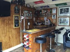 Turning Your Basement into the Ultimate Man Cave Can Be Fun - Man Cave Home Bar Diy Home Bar, Home Pub, Bars For Home, Man Cave Room, Man Cave Home Bar, Man Shed Bar, Man Cave Shed Plans, Garden Bar Shed, Party Shed