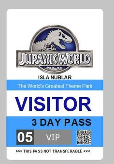 jurassic world - visitor pass id badge prop pvc card - free shipping from $8.0